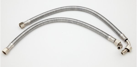 Picture of BSA B Group (B31, B32, B34) armoured oil feed pipes (over gearbox routing)