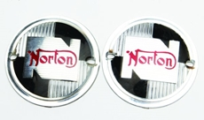 Picture of Norton Tank Badges round plastic. (black, silver ) (1957- 68)