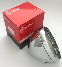 """Picture of Genuine 7"""" Lucas chrome shell & rim. Aperture for 3 warning lights & 1 switch. Lucas 54526651"""